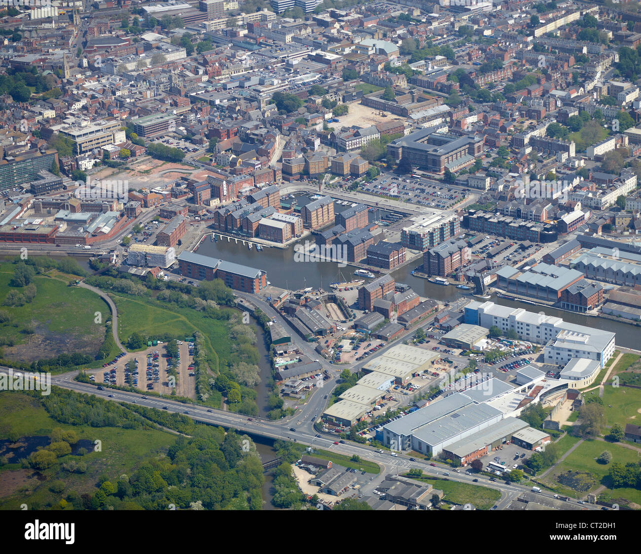 Gloucester Docks from the air, Gloucestershire, South West England, uk - Stock Image