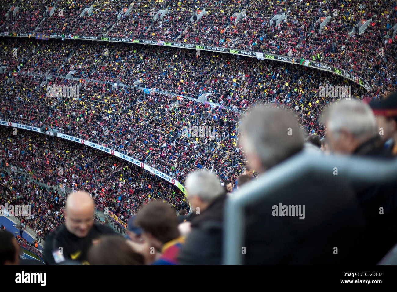 Crowd of people in the F.C. Barcelona stadium, Camp Nou, during a match against Real Madrid - Stock Image