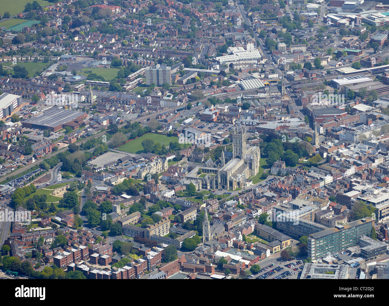 Gloucester from the air, Gloucestershire, South West England, uk - Stock Image