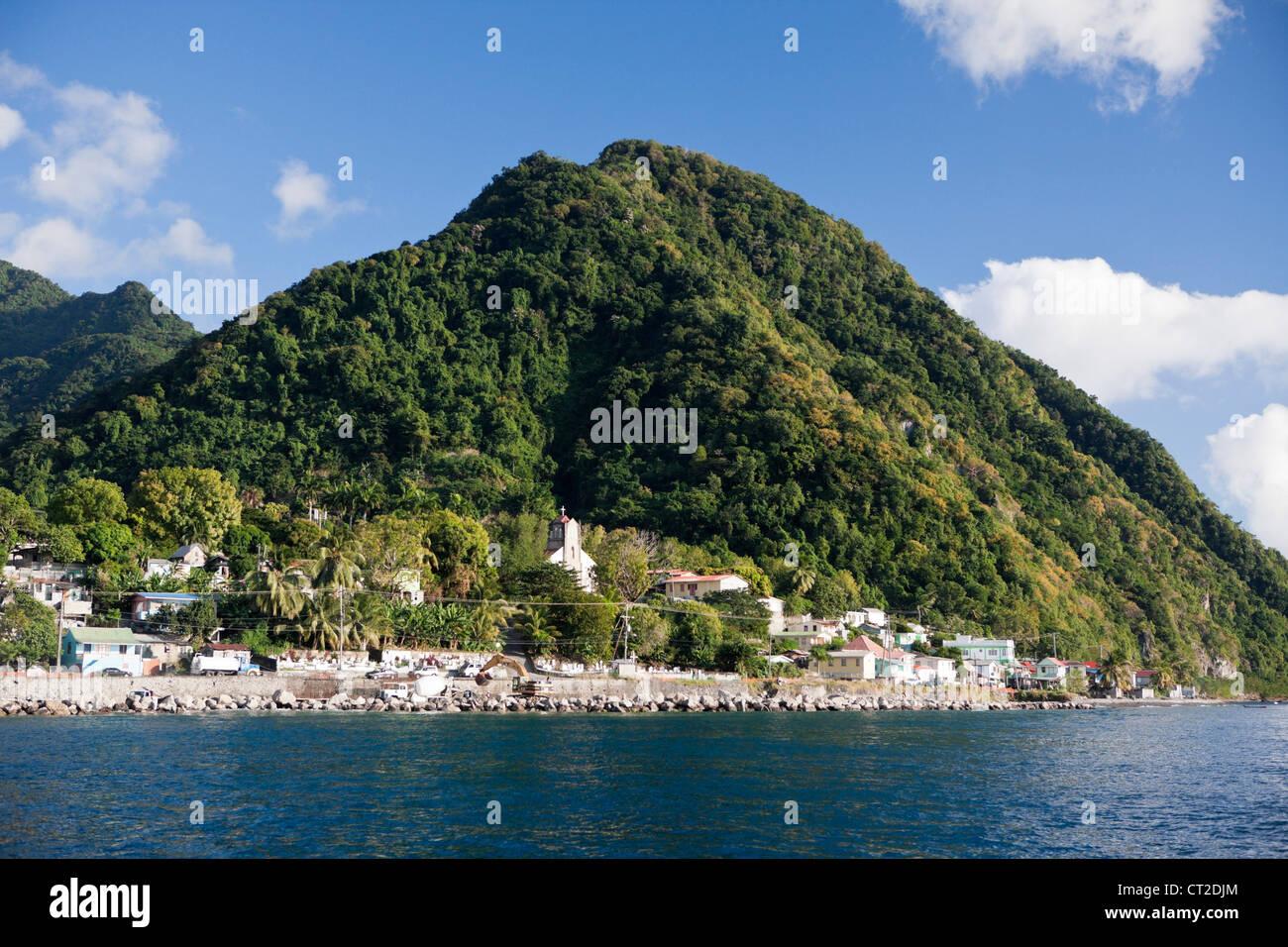 Coast close to Roseau, Caribbean Sea, Dominica - Stock Image