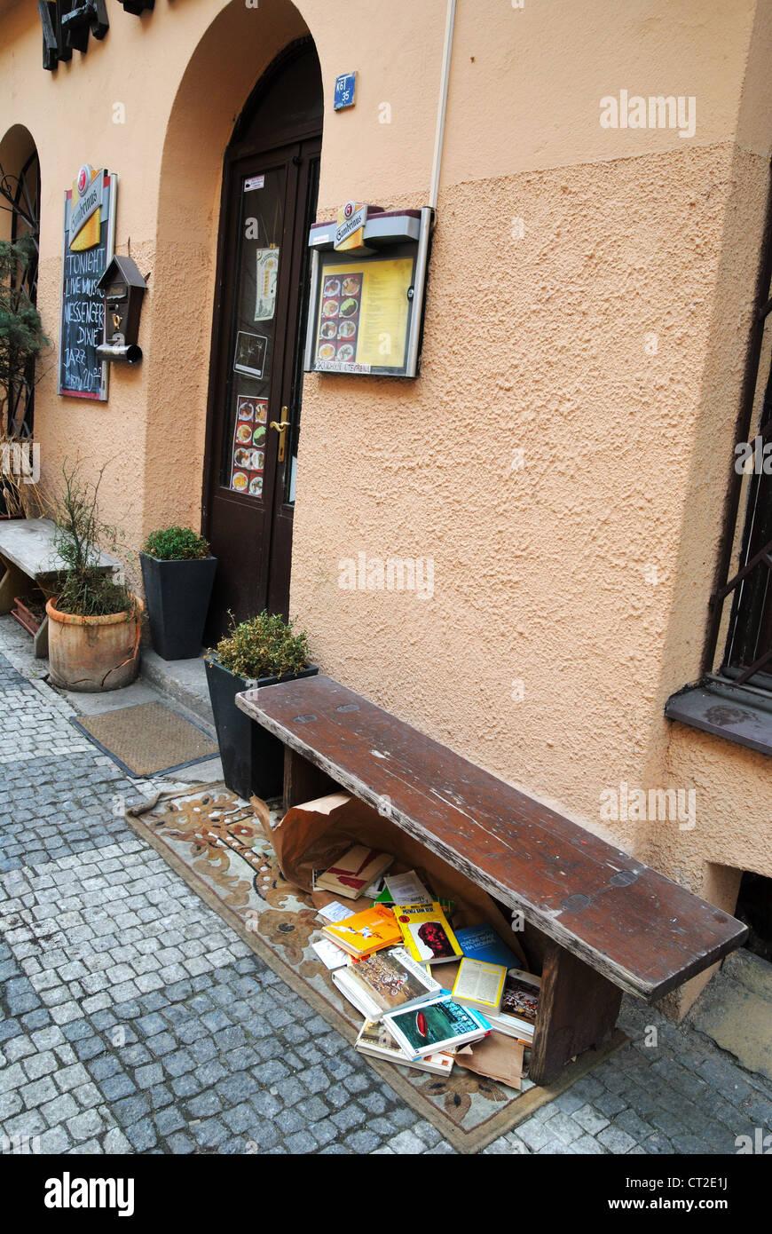 Book exchange place, Prague, Czech Republic - Mar 2011 - Stock Image