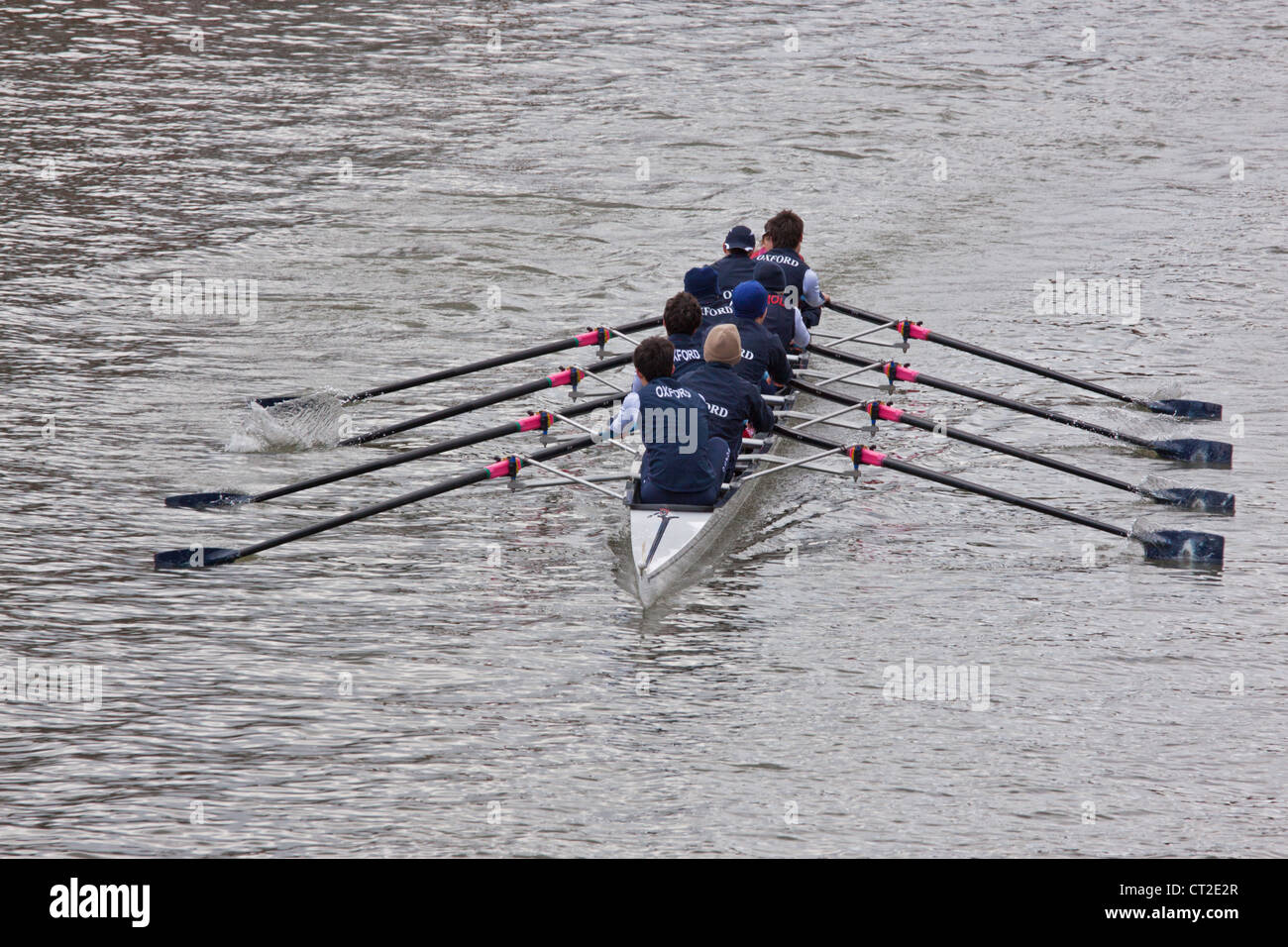 Crew from Oxford racing in the annual Head of the River race in Bristol, England in February 2012 - Stock Image
