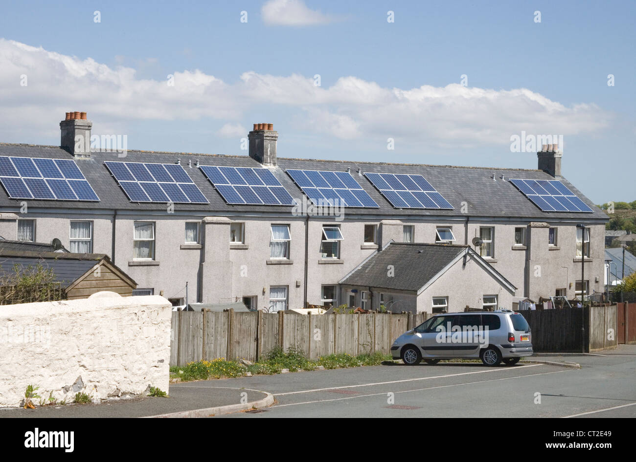 solar panels on houses at princetown on dartmoor national park - Stock Image