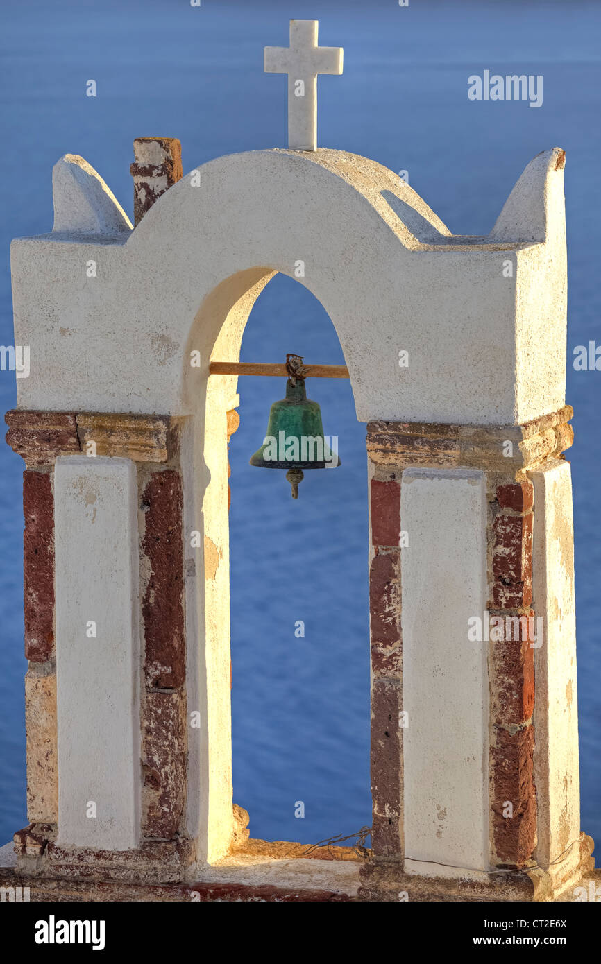 Bell tower of a Greek Church in Oia, Santorini - Stock Image