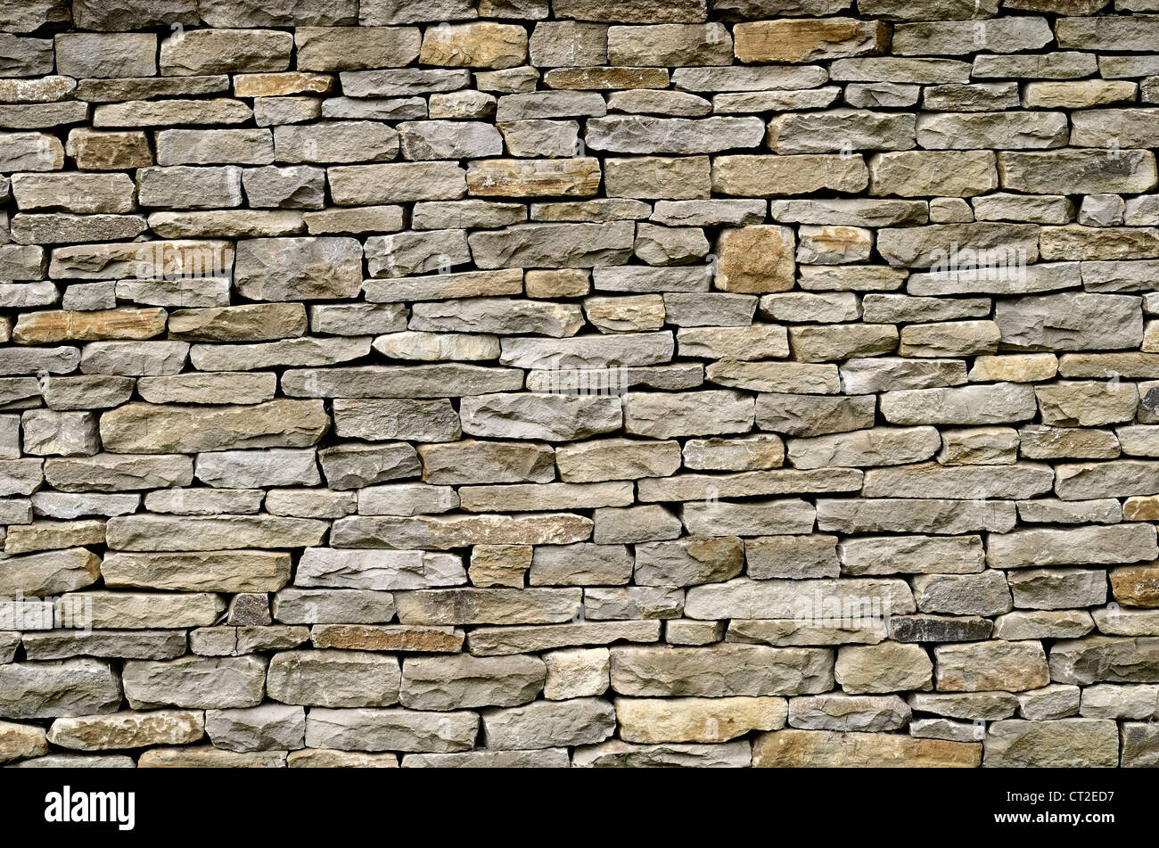 Garden dry-stone walling / detail of sandstone sections - Cotswolds. Visual allegory for 'firewall' or file 'access Stock Photo