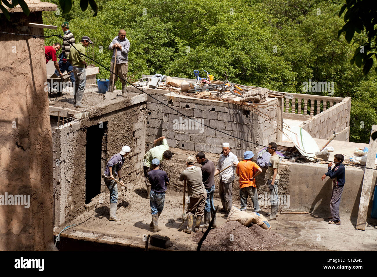 Perfect House Construction Site Workers In The High Atlas Mountains, Morocco Africa