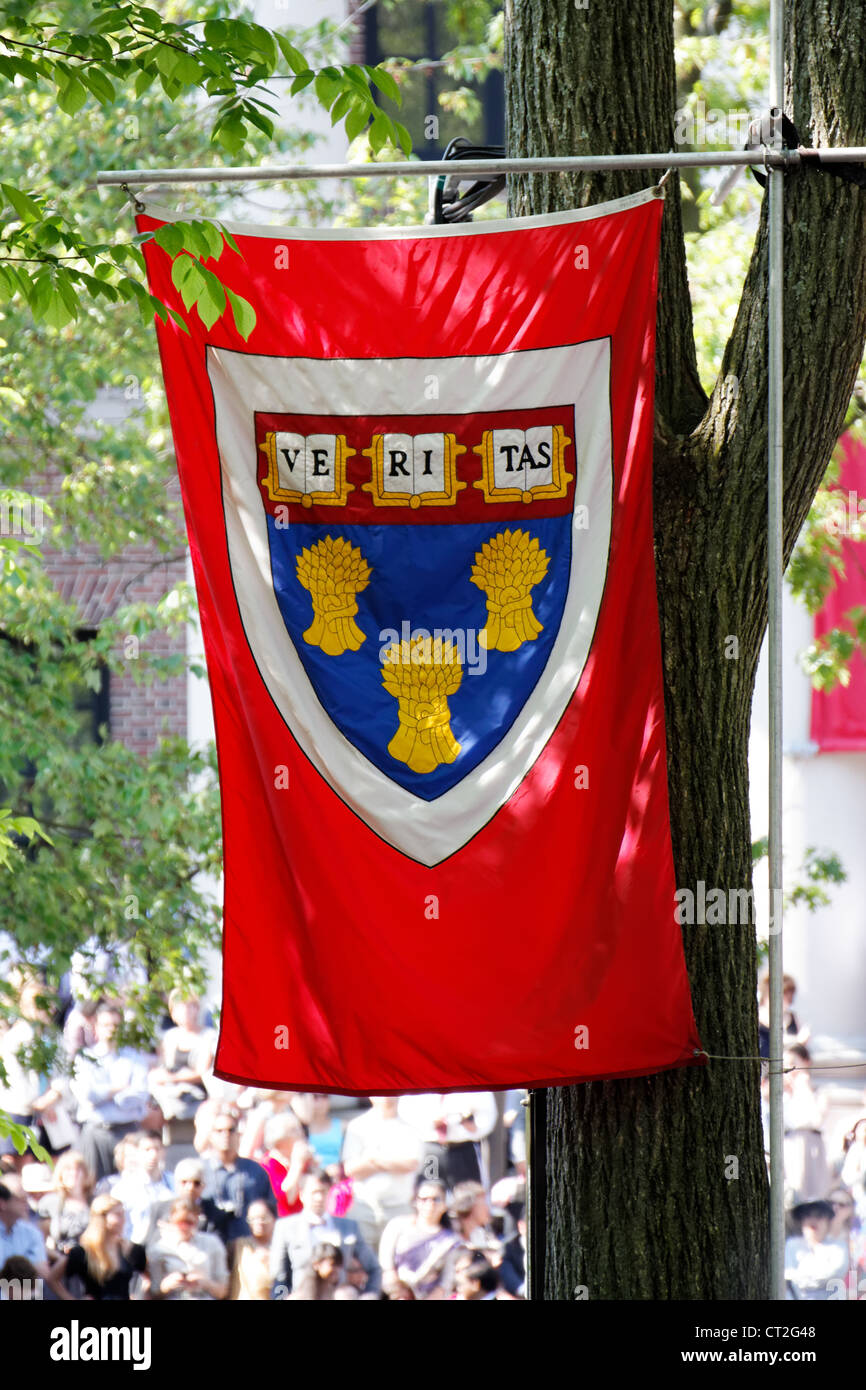 Harvard Law School flag flying over the crowd at Harvard Commencement 2011 in Cambridge, MA. - Stock Image