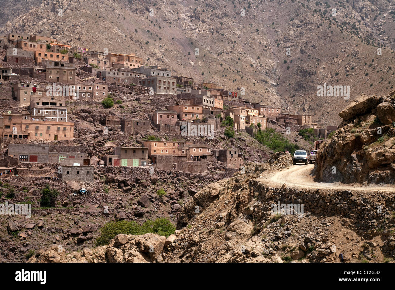 Driving on narrow roads in the High Atlas mountains, Morocco, Africa - Stock Image