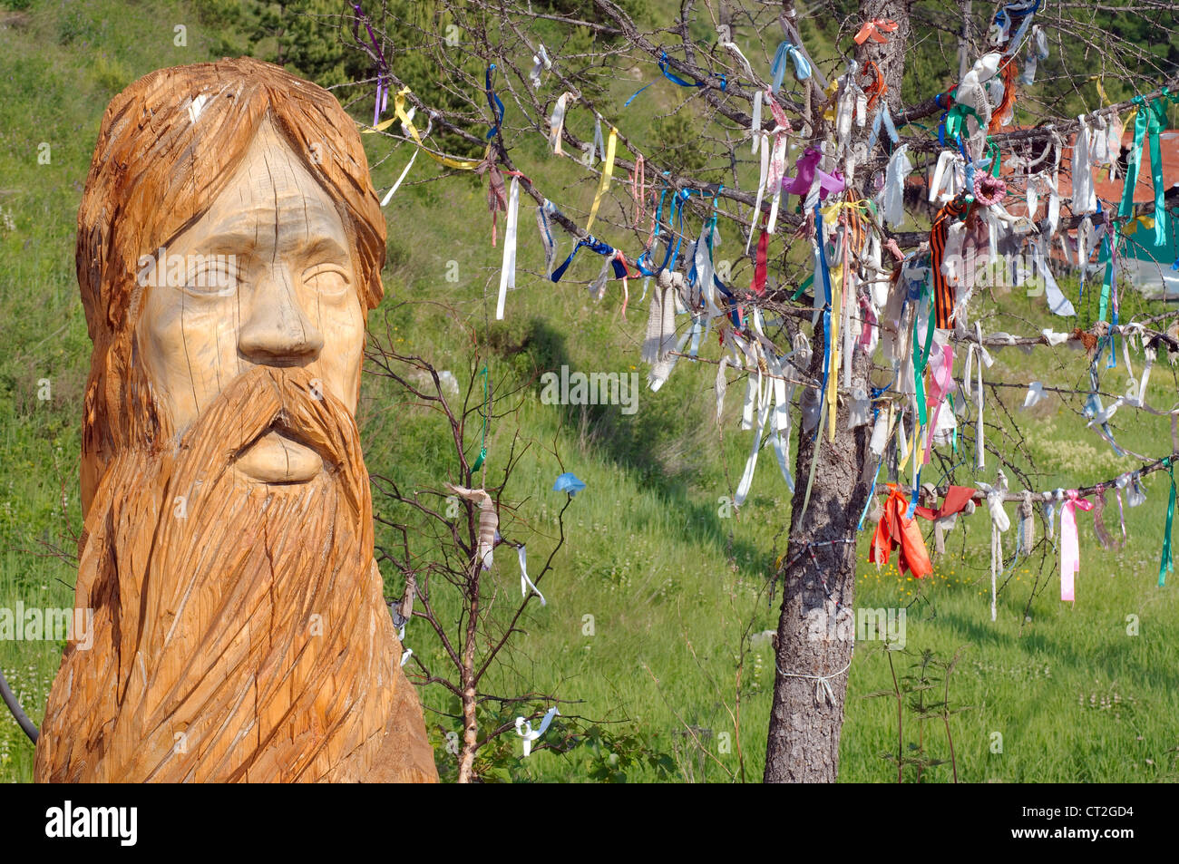 Idol & Tree of desires, settlement Listvyanka, Lake Baikal, Irkutsk region, Siberia, Russian Federation - Stock Image