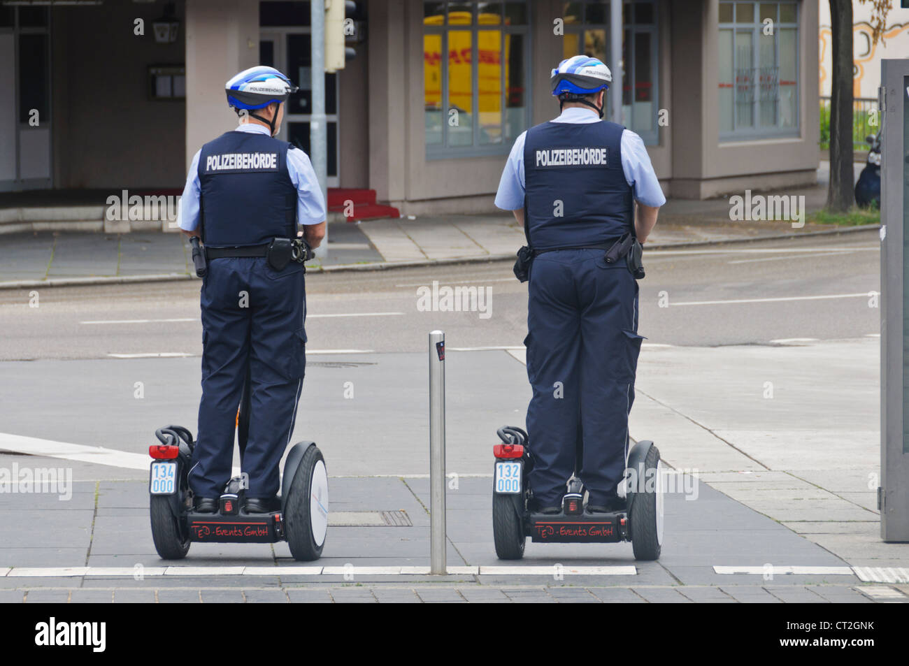2 German Police Officers On Patrol with Segway Personal Transporter - Heilbronn Germany Stock Photo
