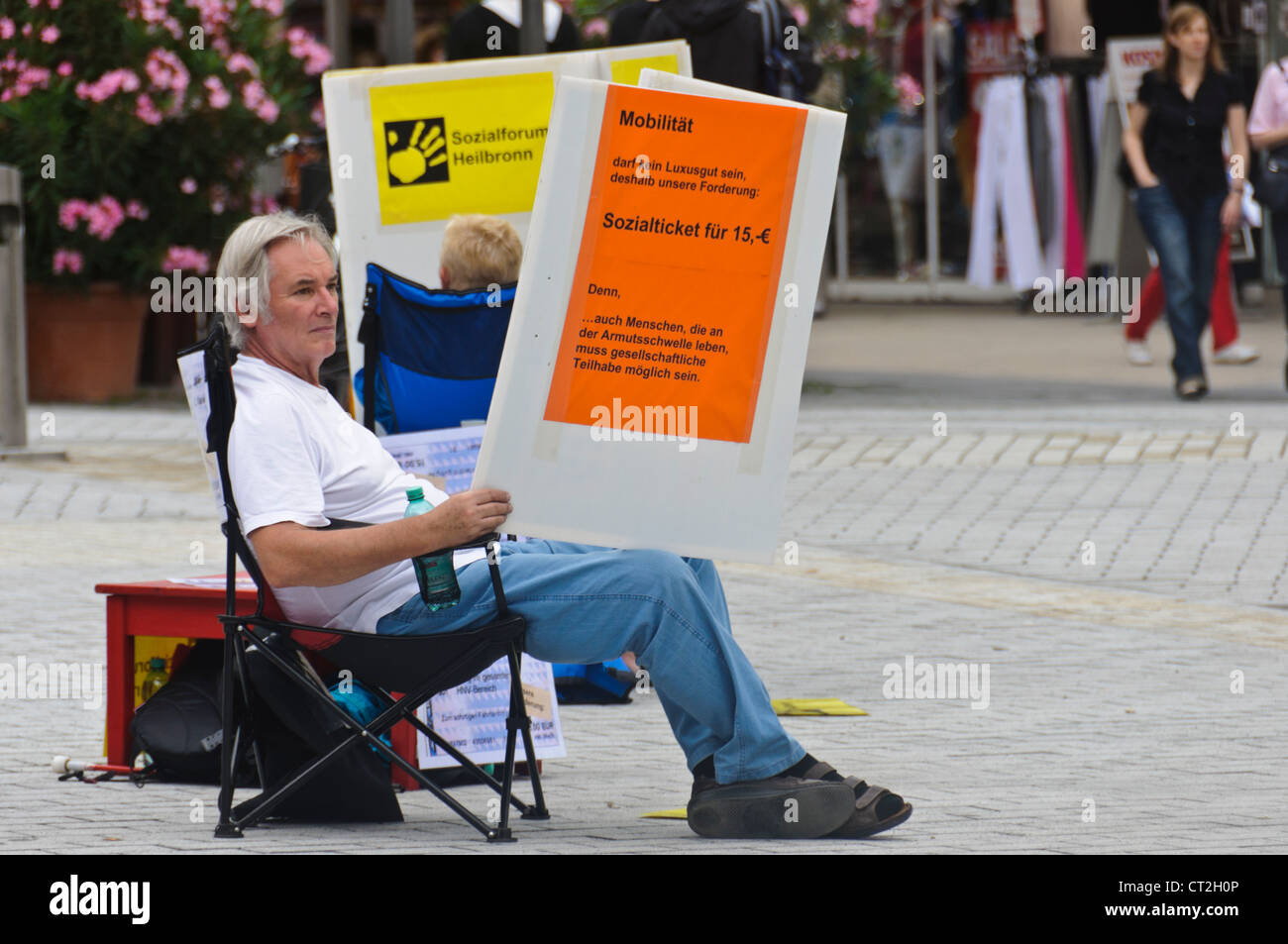 Heilbronn Germany, Male Demonstrator protest for social issues - Stock Image