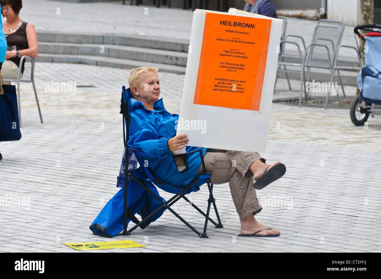Heilbronn Germany, Female Demonstrator protest for social issues - Stock Image
