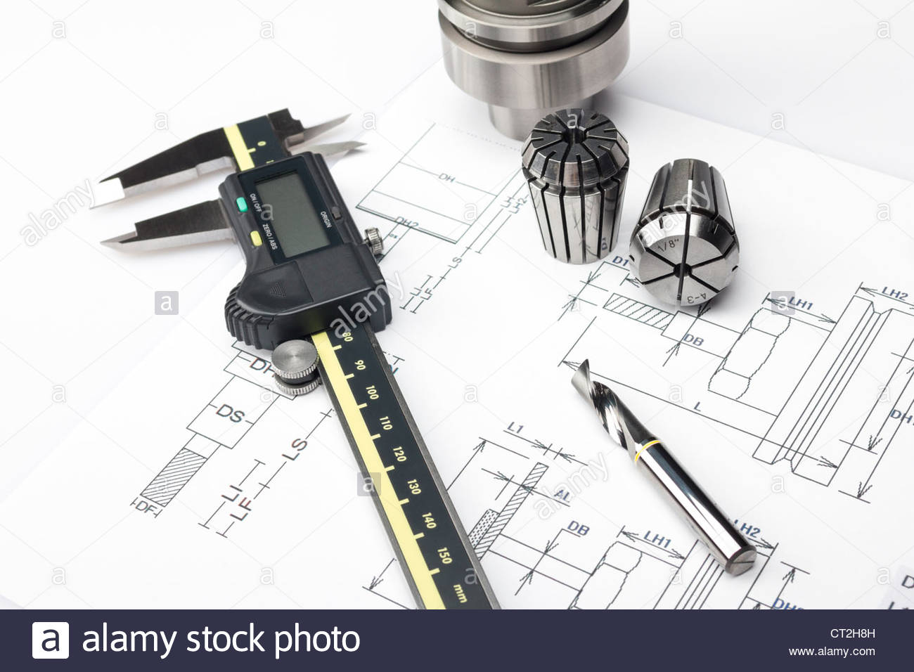 Measuring machining tools - Stock Image