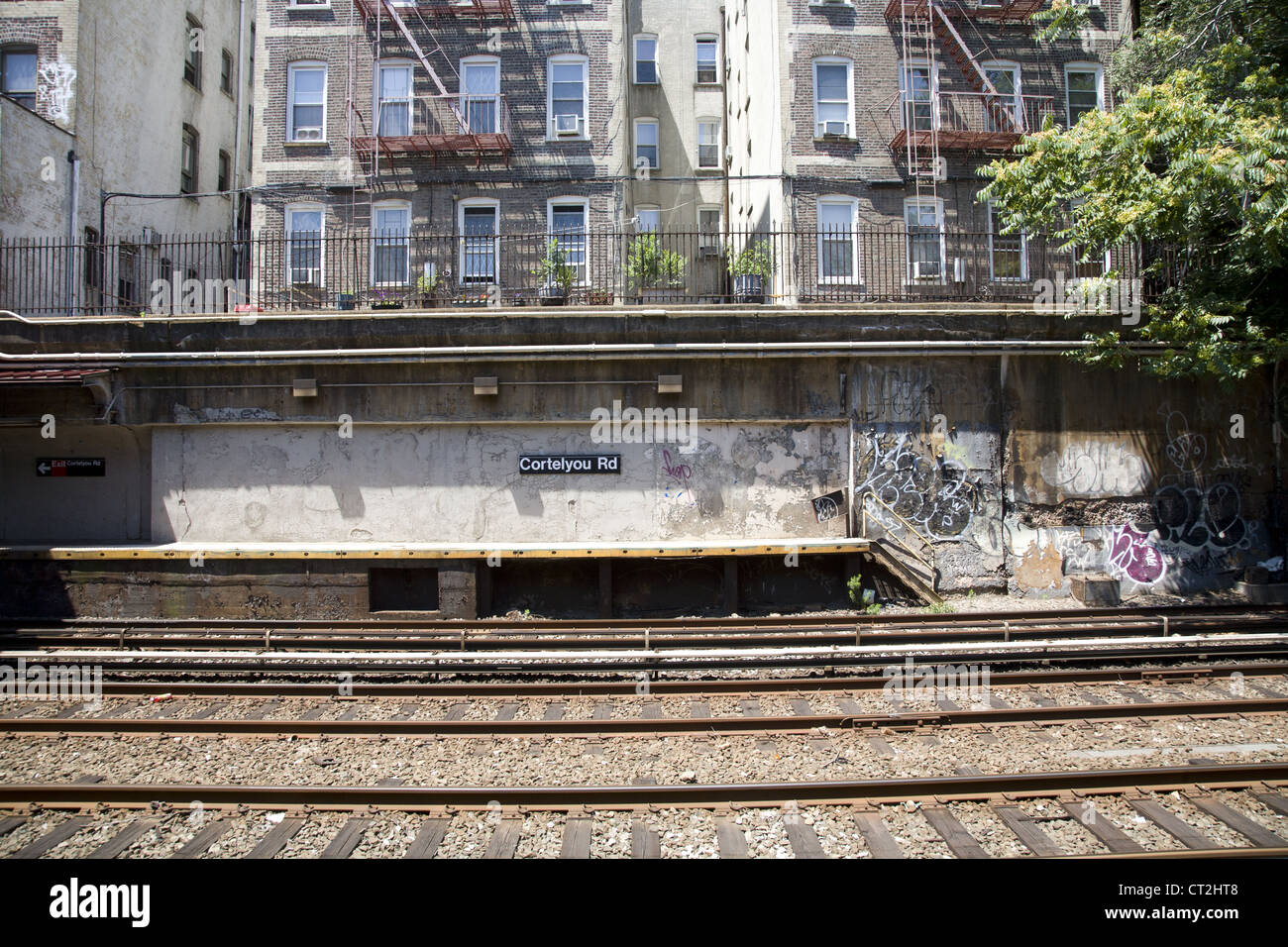Open air subway station at Cortelyou Road along the F line in Brooklyn, NY. Stock Photo