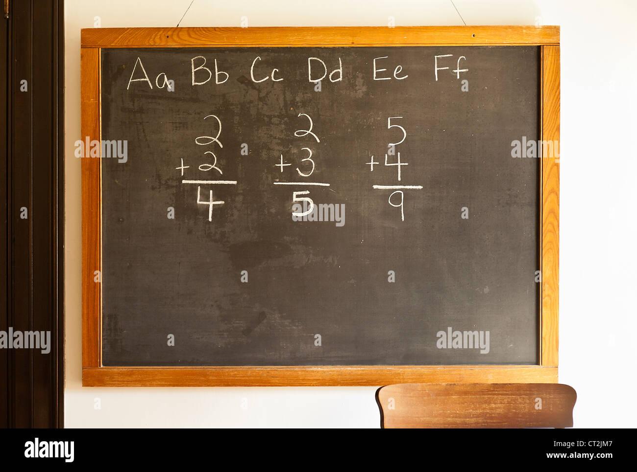 Traditional classroom black board. - Stock Image