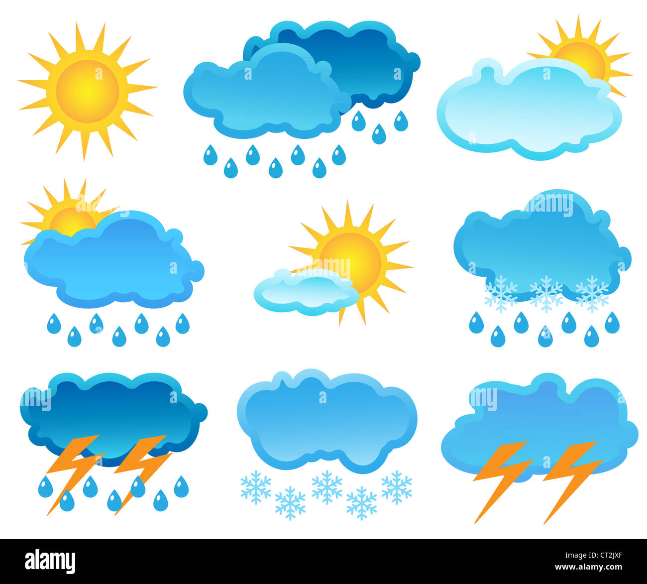 The icon set of a weather - Stock Image