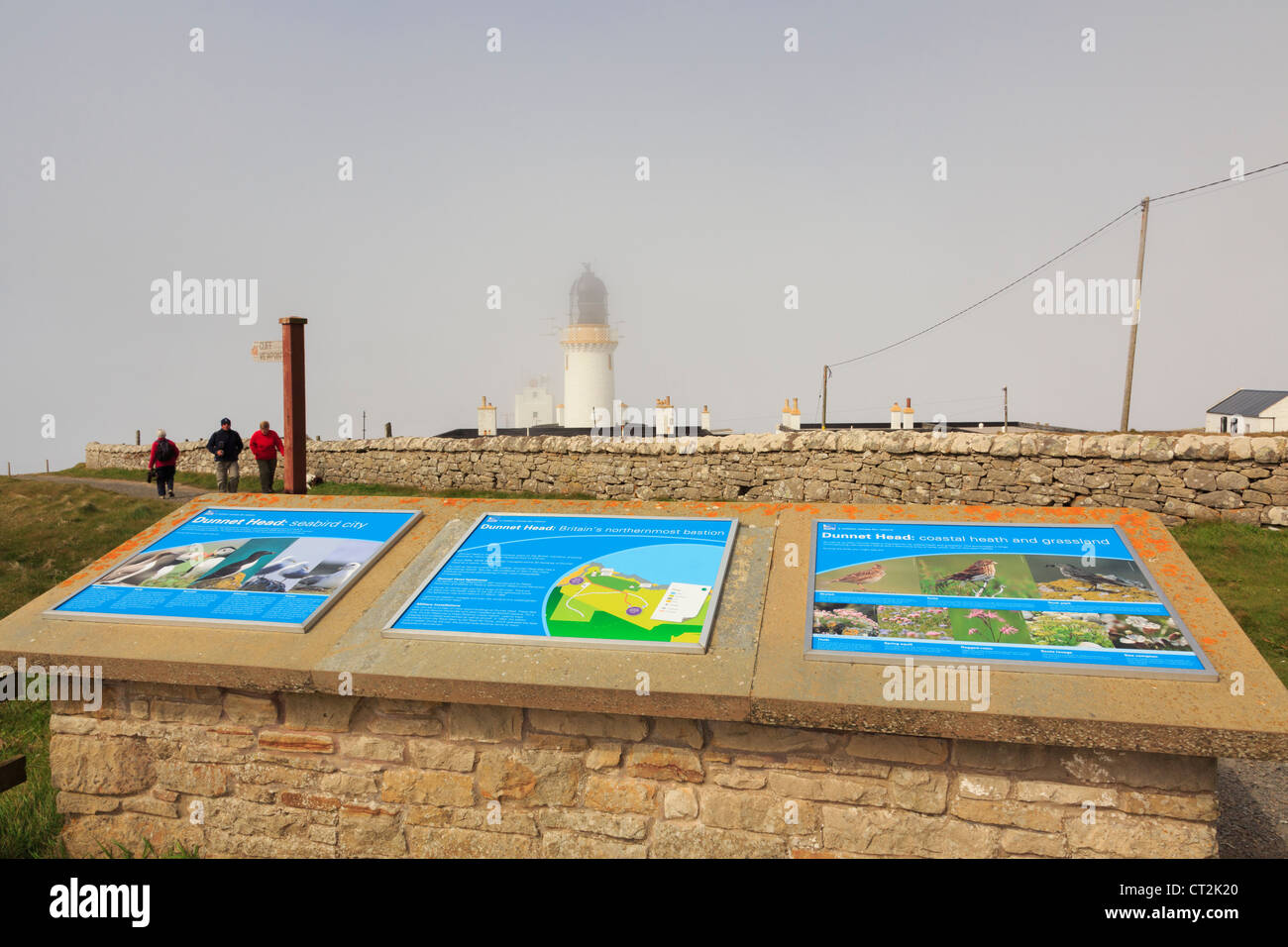 Visitor information boards by Dunnet Head lighthouse at most northerly point of mainland Britain. Dunnet Caithness - Stock Image