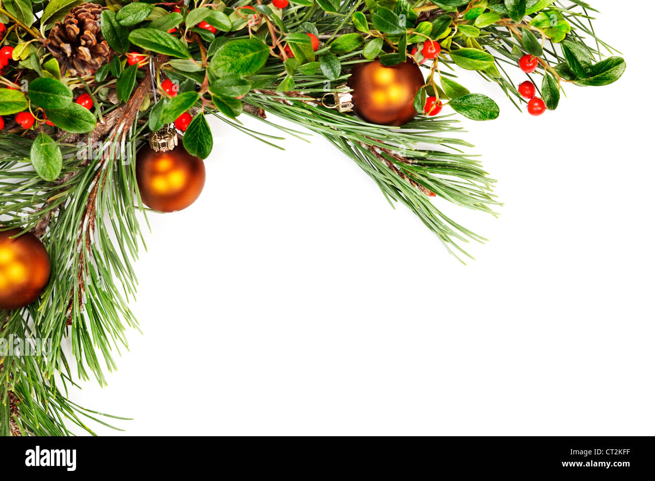 Holiday Garland With Ornaments, Pine Branches, Pine Cones