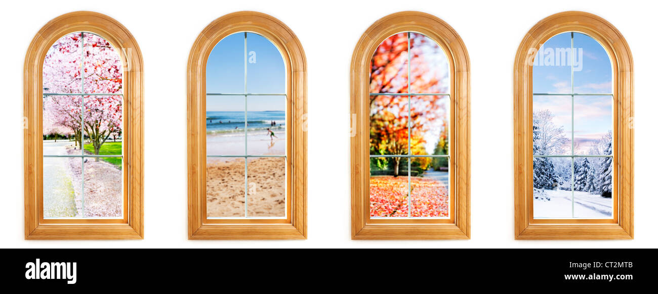 Round top window with views of spring, summer, fall and winter - Stock Image