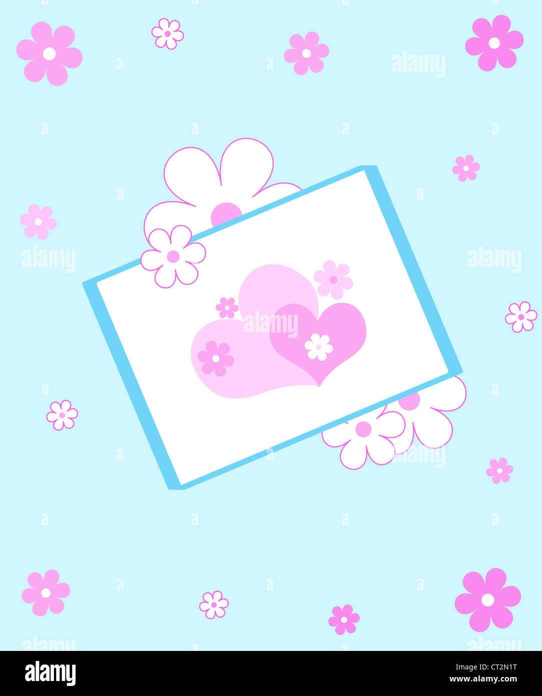 Hearts and flowers frame on light blue Stock Photo