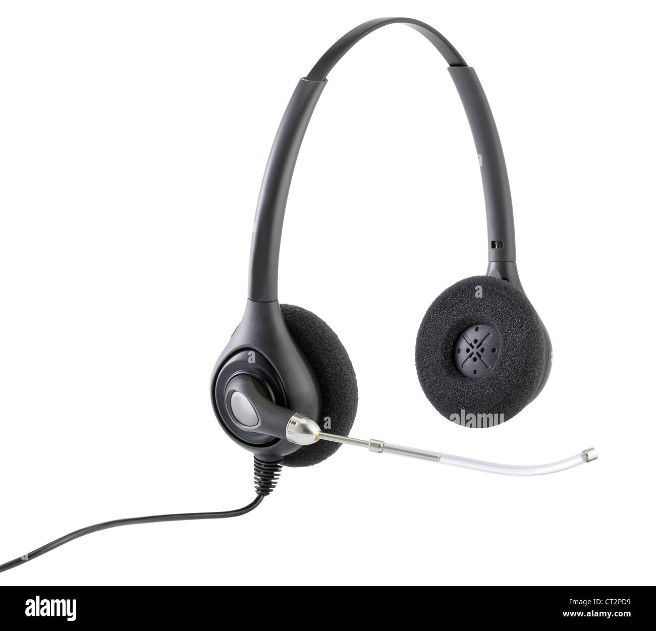 a pair of telephonists hands free headphones isolated on white with clipping path - Stock Image