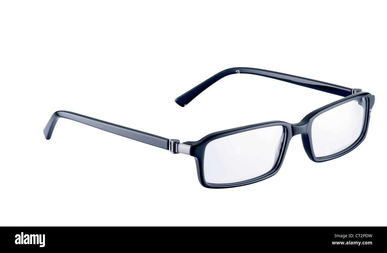 a pair of black spectacles on a white background with clipping path - Stock Image
