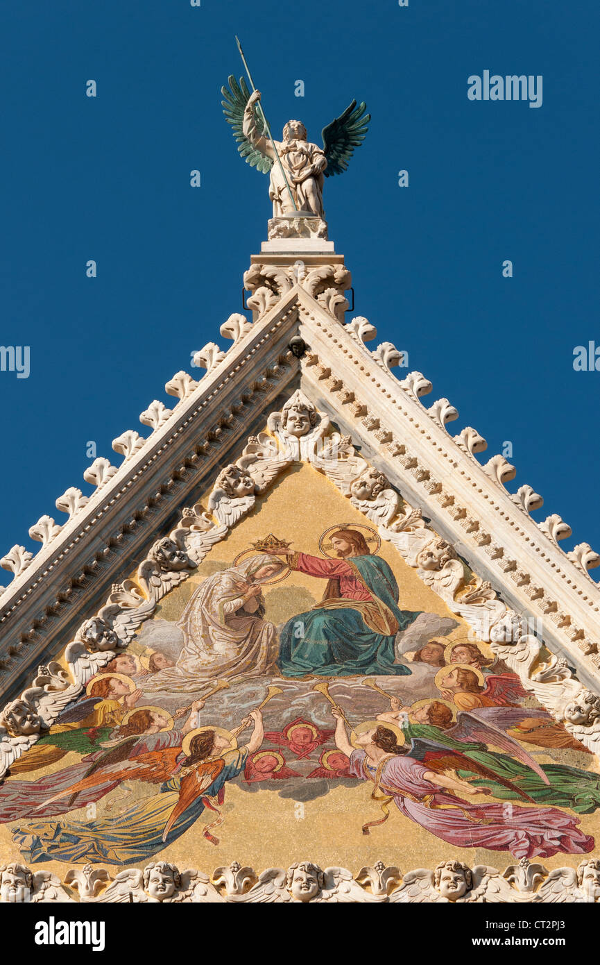 Gable of Facade of Cathedral (Duomo) of Siena with Mosaic representing Coronation of Virgin by Luigi Mussini, Tuscany, Stock Photo
