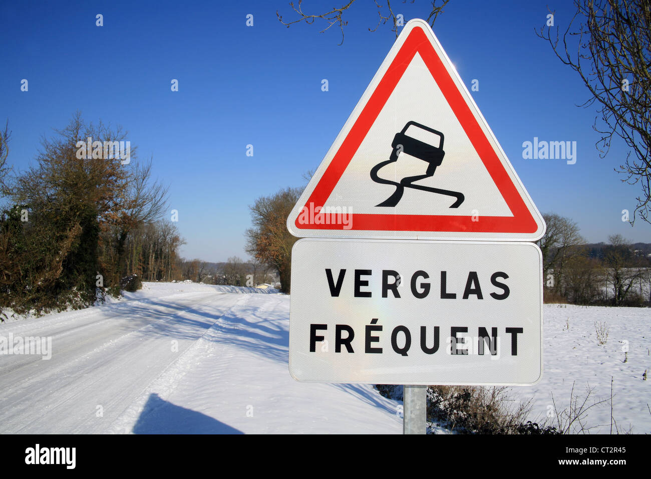 Road sign in France - Stock Image