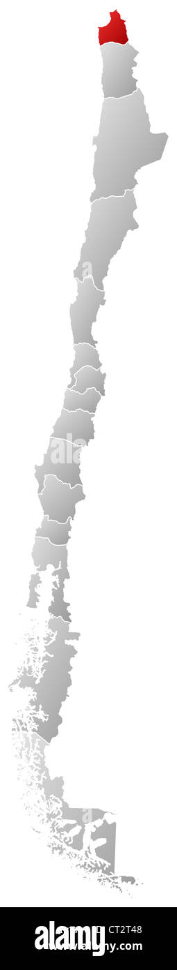 Political map of Chile with the several regions where Arica and Parinacota Region is highlighted. - Stock Image