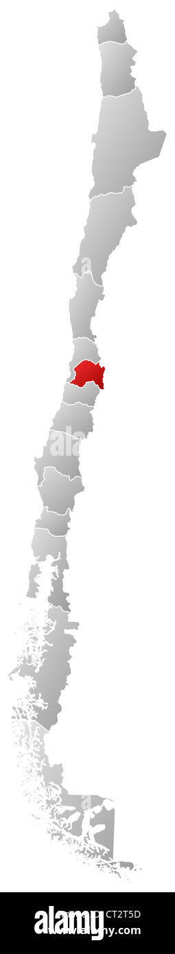 Political map of Chile with the several regions where Metropolitan Region is highlighted. - Stock Image