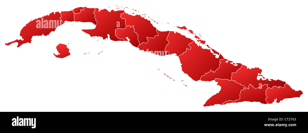 Political Map Of Cuba With The Several Provinces Stock Photo