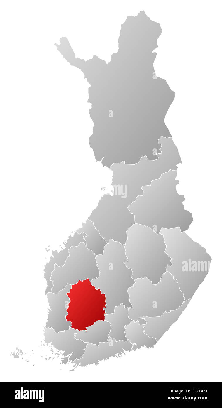Political map of Finland with the several regions where Pirkanmaa is highlighted. - Stock Image