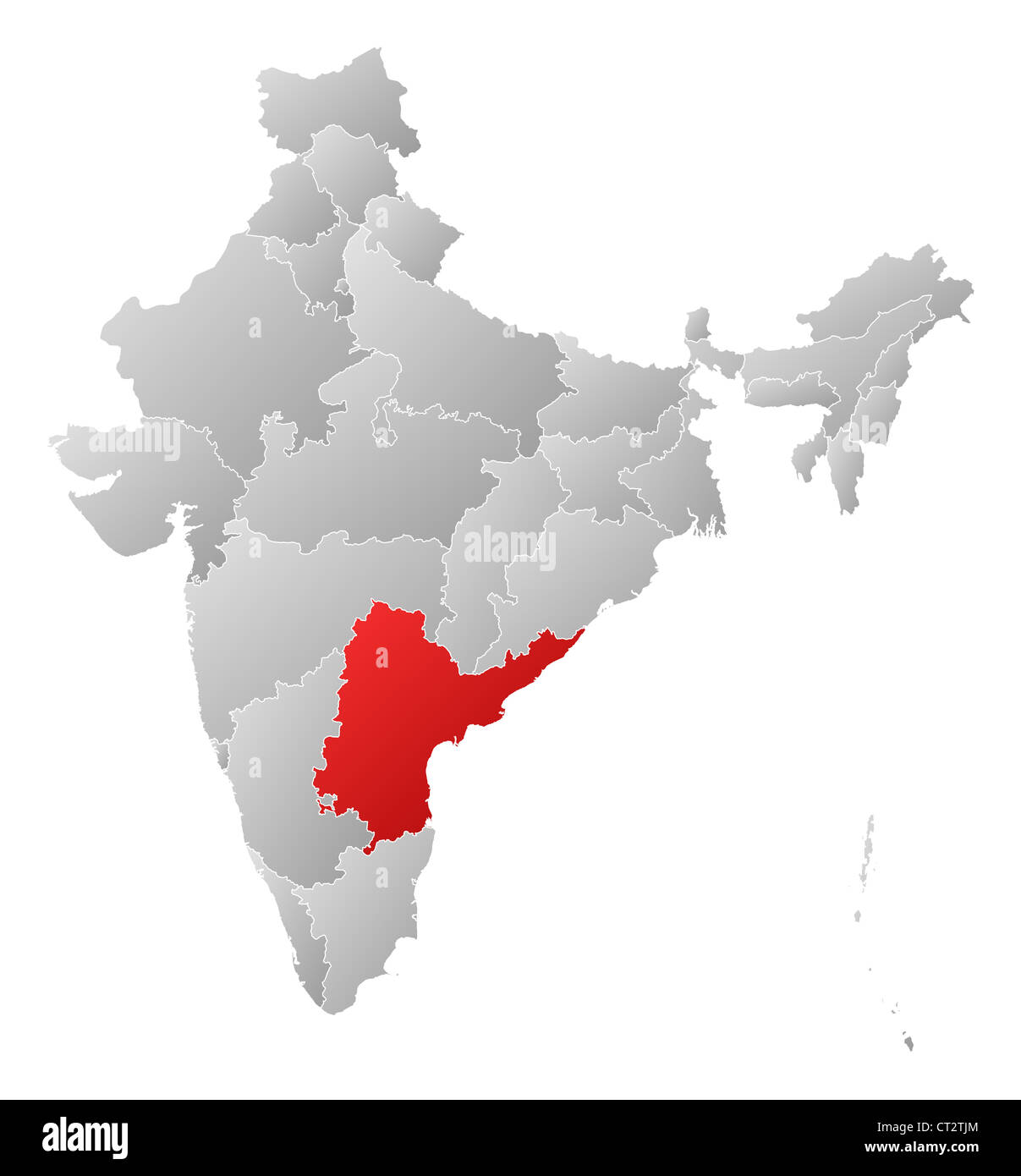 Political map of India with the several states where Andhra Pradesh ...