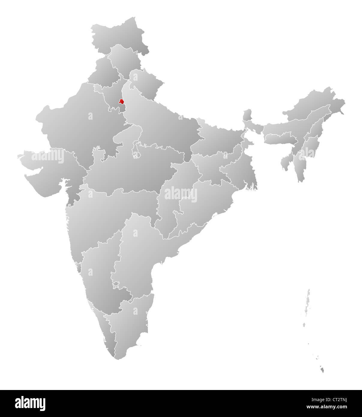 Political map of India with the several states where National Capital Region is highlighted. - Stock Image