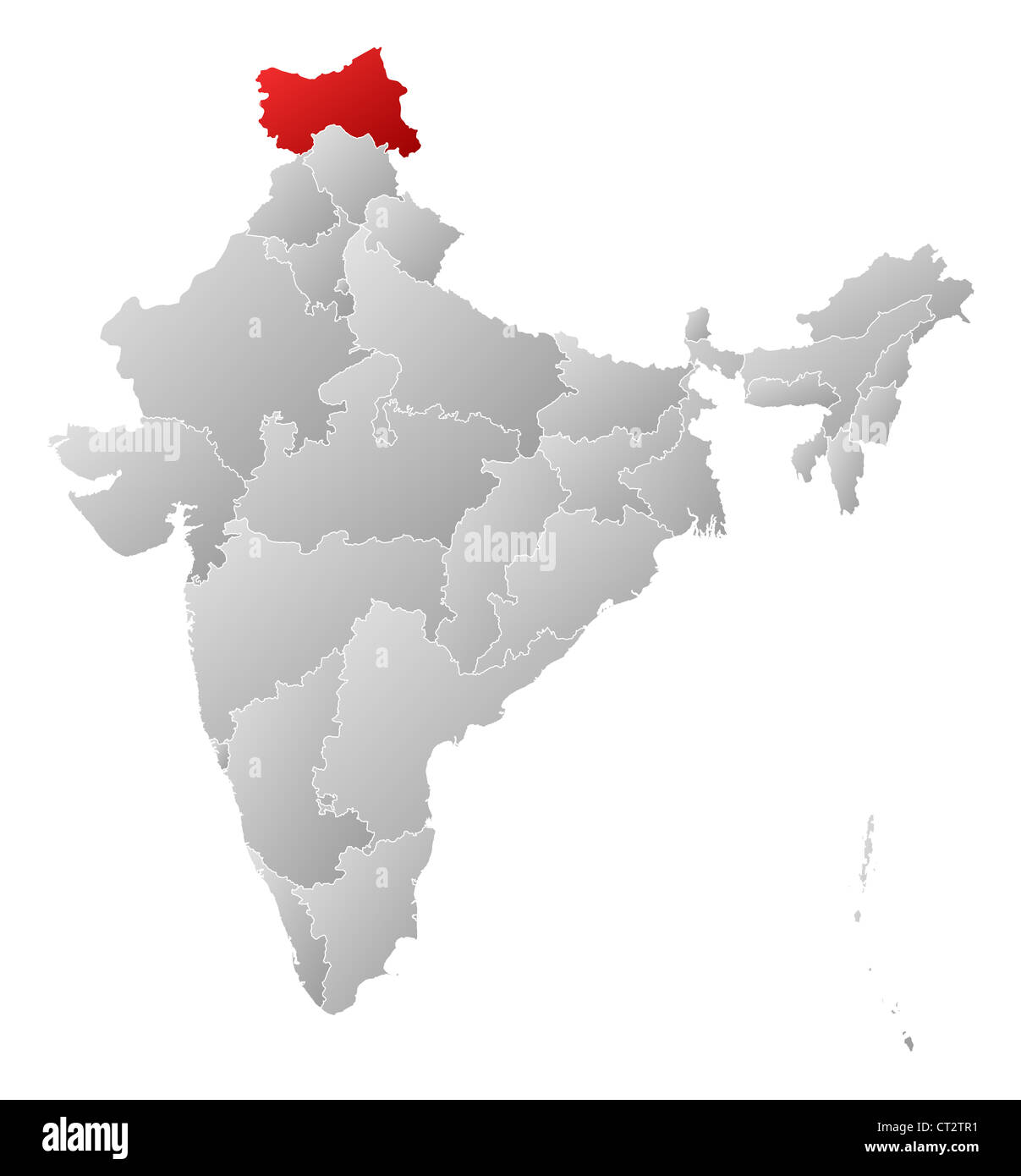 Kashmir On World Map.Political Map Of India With The Several States Where Jammu And Stock