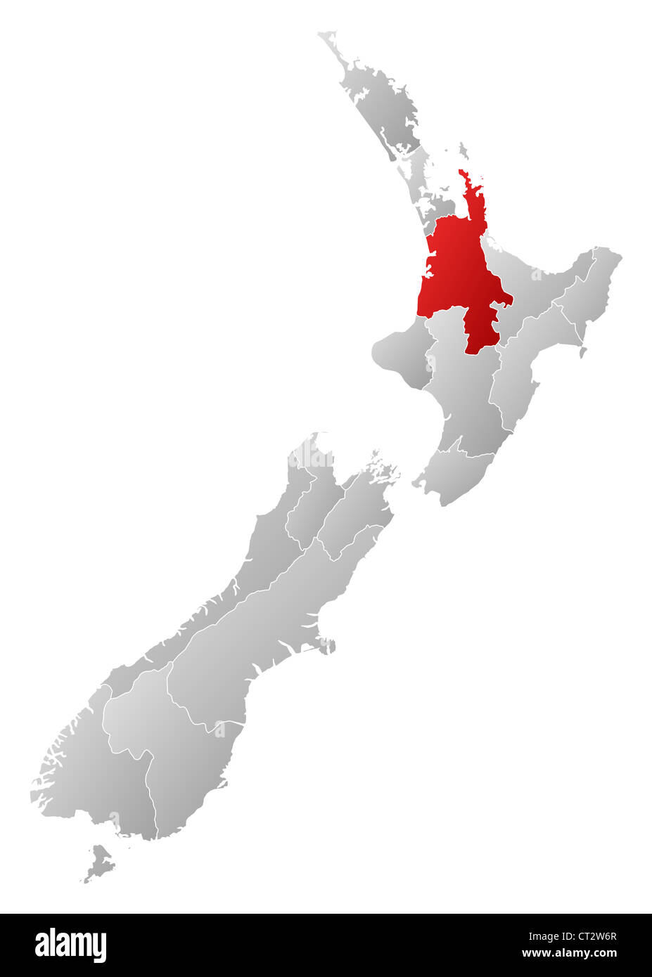 Waikato New Zealand Map.Political Map Of New Zealand With The Several Regions Where Waikato
