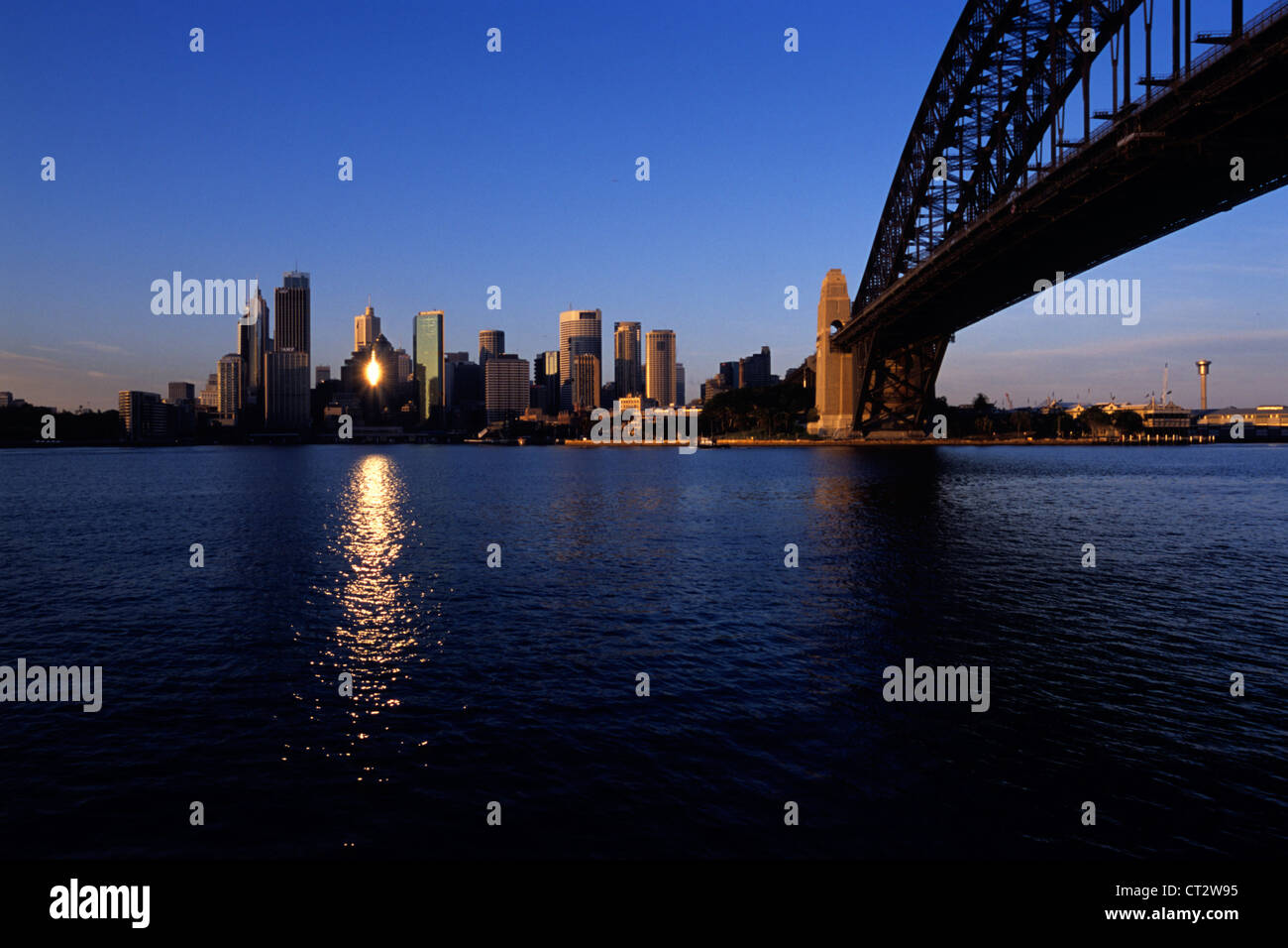 Early morning light reflects off a building in Sydney downtown Stock Photo