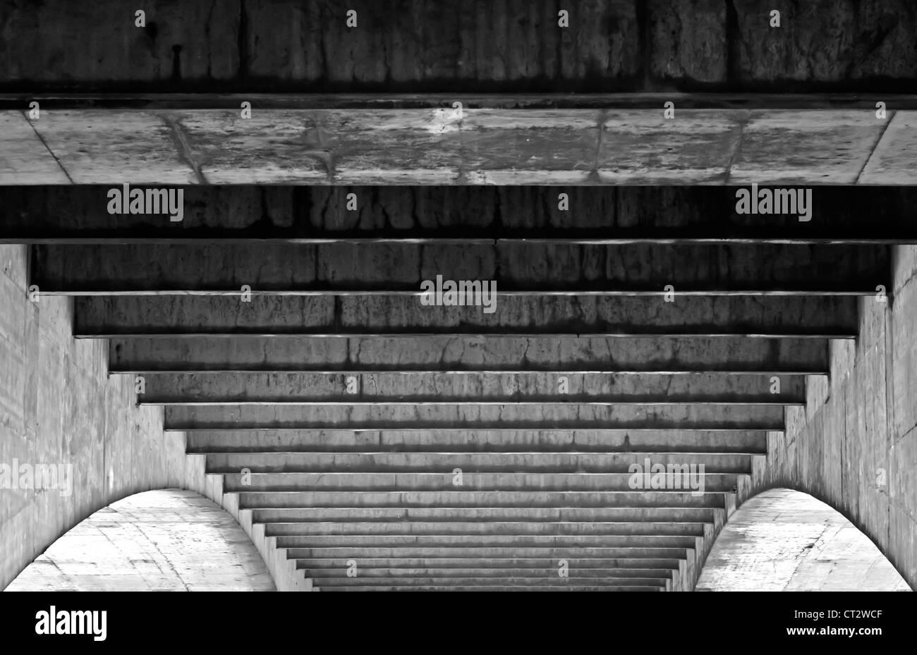 Underside of Waterloo Bridge - Stock Image