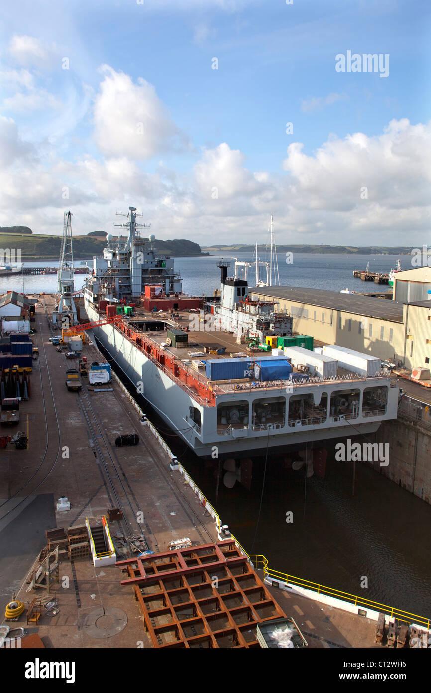 Ship in Dry Dock - Stock Image