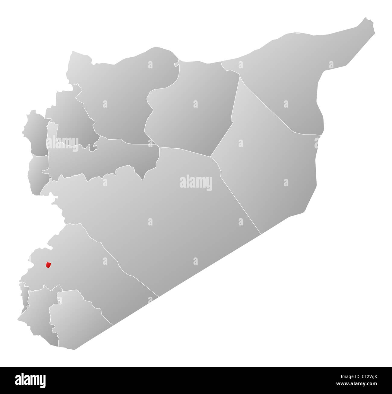Political Map Of Syria With The Several Governorates Where Damascus