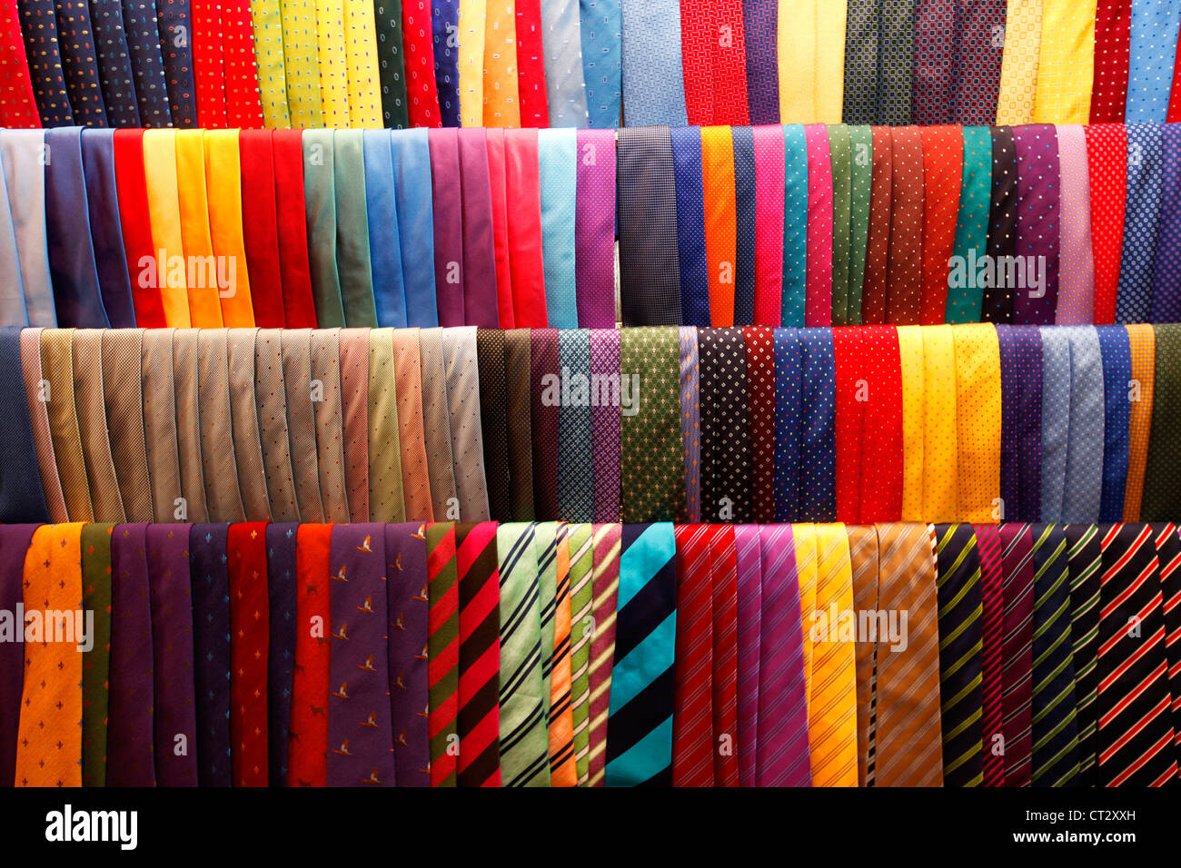 Ties, different colors, shapes, sizes, designs. - Stock Image