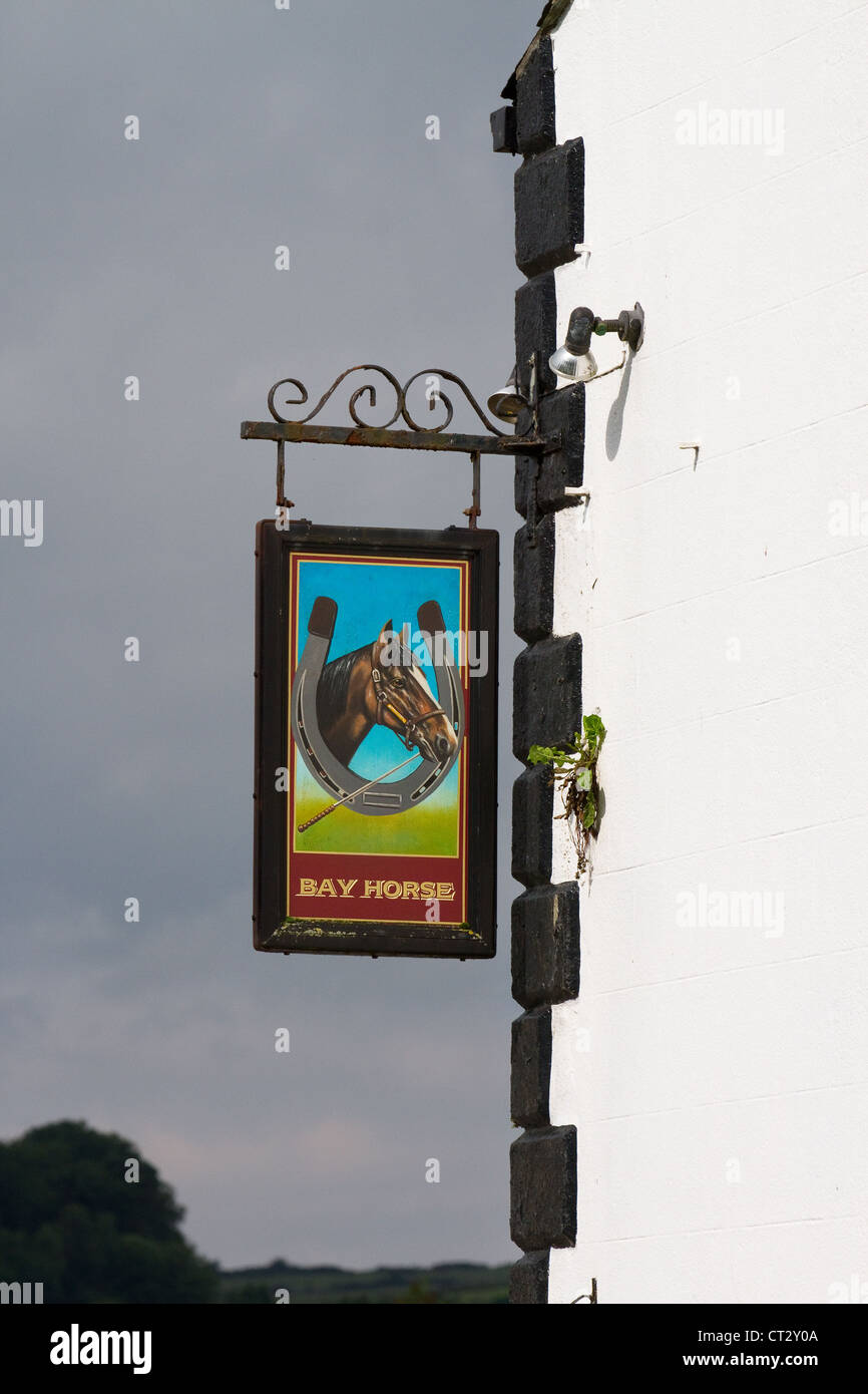 Bay Horse Hotel Arkholme pub sign illustration,  Carnforth, Lancashire, UK - Stock Image