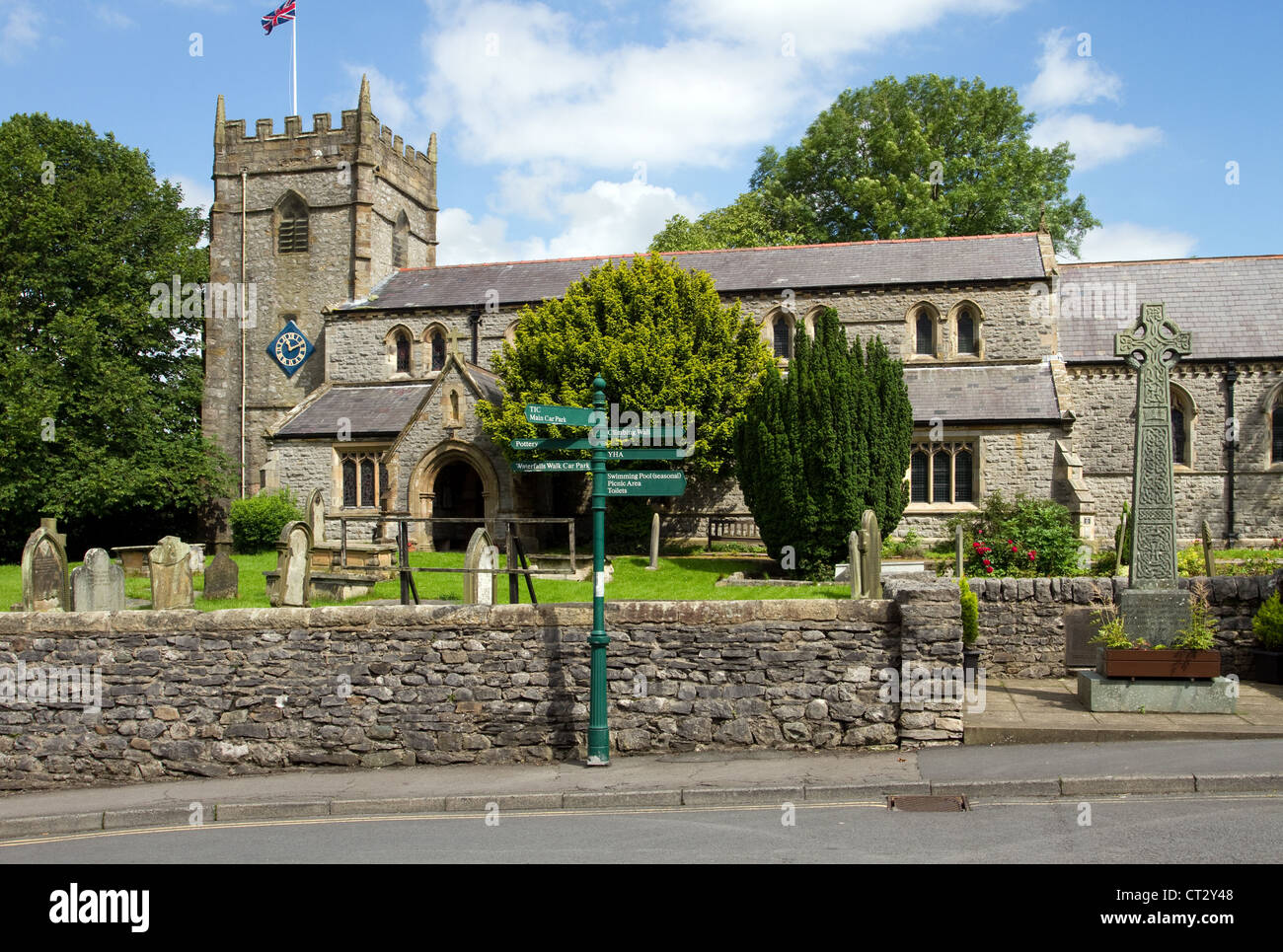 The Parish Church of St Mary the Virgin_Ingleton, North Yorkshire Dales, UK - Stock Image