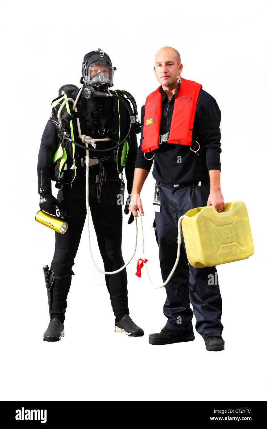 Fire rescue and recovery diver. - Stock Image
