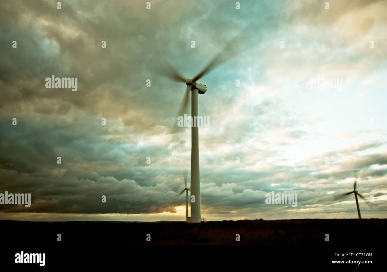 Wind turbine near Harrogate in North Yorkshire - Stock Image