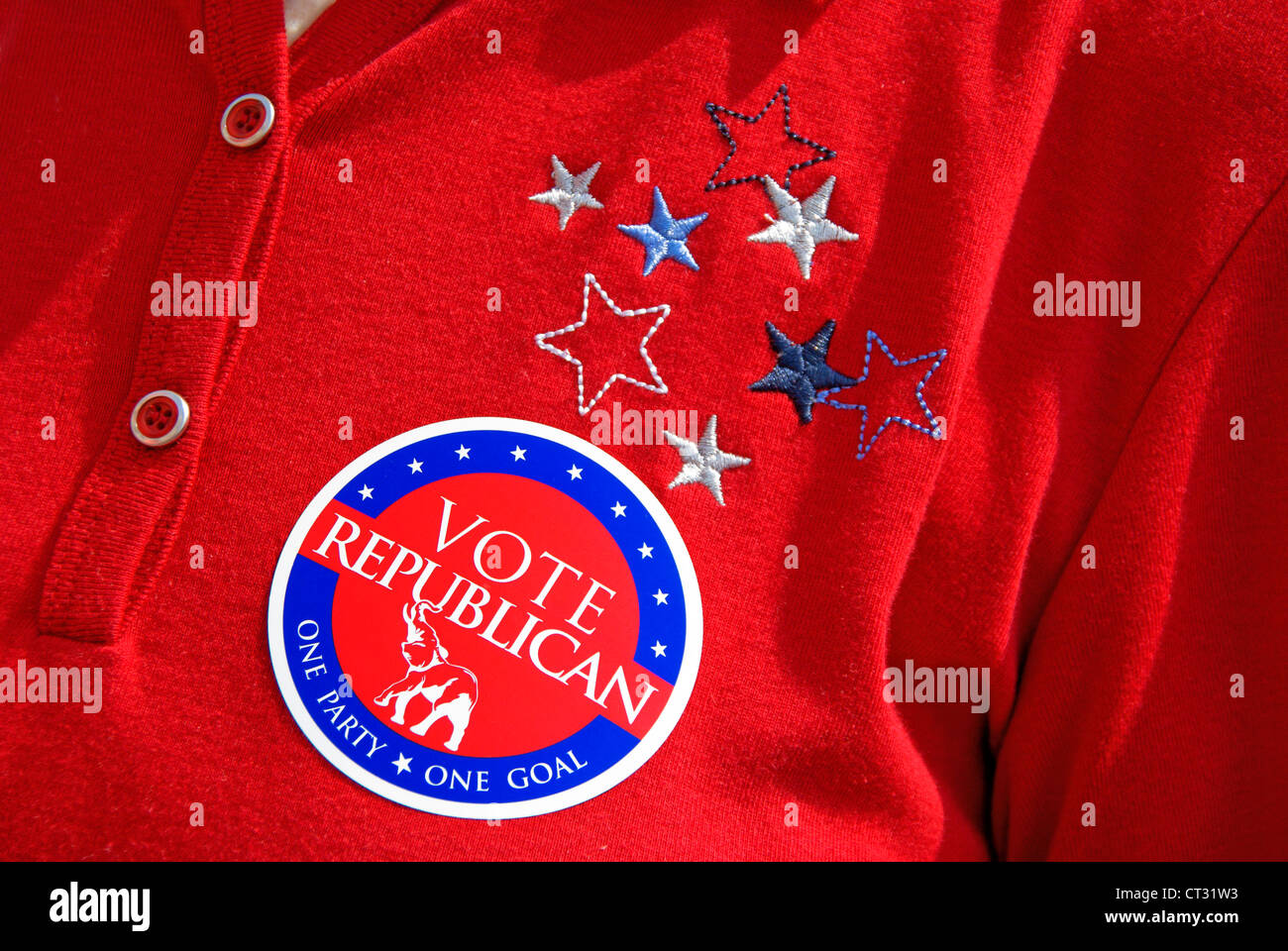 Vote Republican, one party one goal, sticker on a red T-shirt. Promotion during 4th of July celebrations 2012. - Stock Image