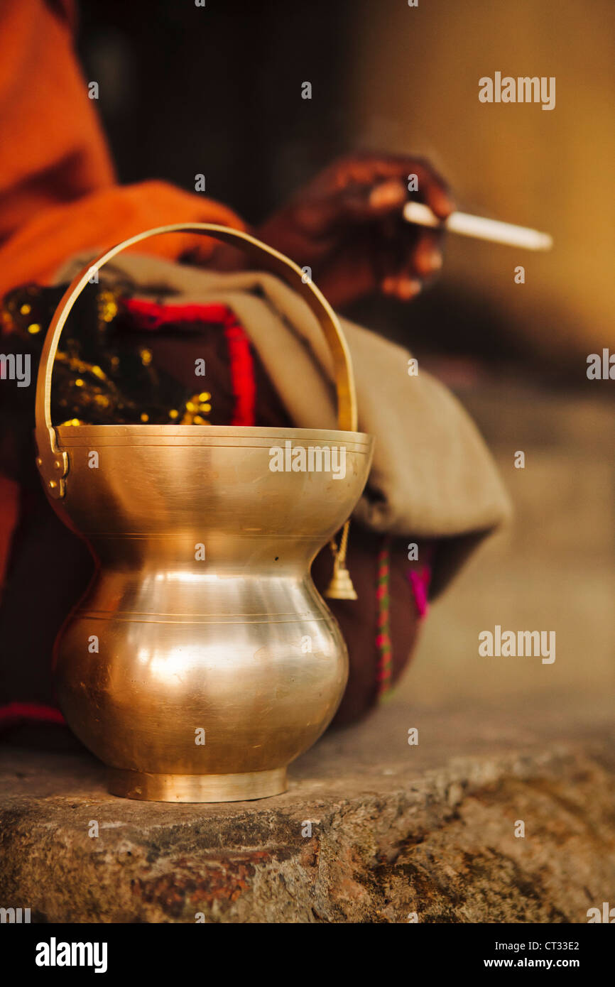 Sadu alms bowl, Uttar Pradesh, India - Stock Image
