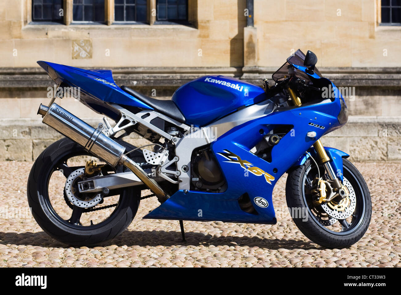 Electric Blue Kawasaki ZX6R Outside An Oxford College Stock Photo 49241391