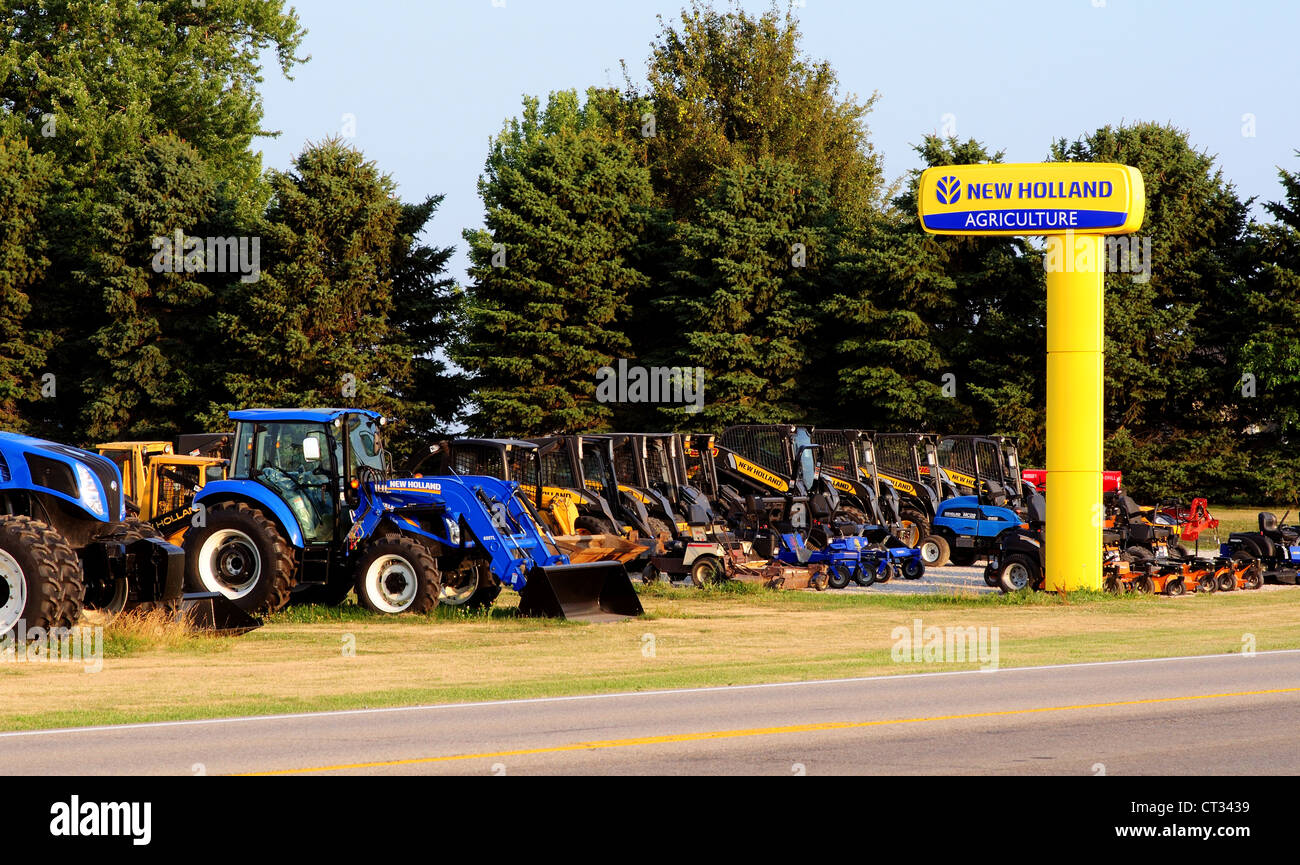 A New Holland Agricultural farm implement dealer - Stock Image