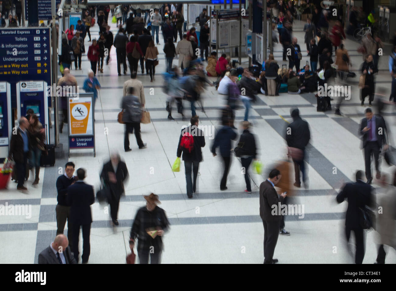 People. Arrival, departure concourse. Liverpool Street Rail Station. London. England. - Stock Image